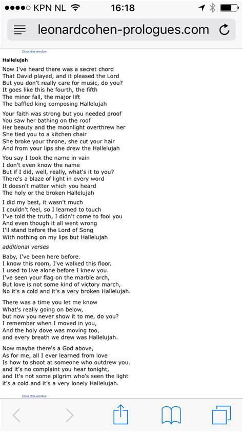 full version of hallelujah lyrics leonard cohen hallelujah lyrics gedichten en