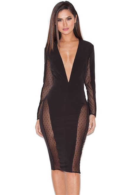 stretch house clothing structured dresses niida black stretch crepe and mesh panelled dress