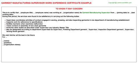 Experience Letter Supervisor Garment Manufacturing Supervisor Work Experience Certificate