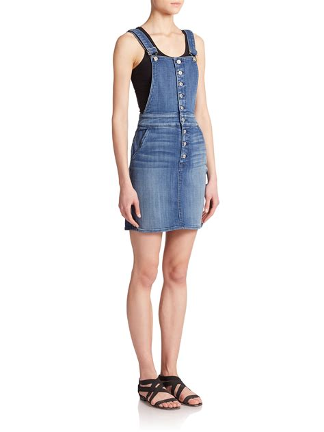 7 for all mankind denim overall dress in blue lyst