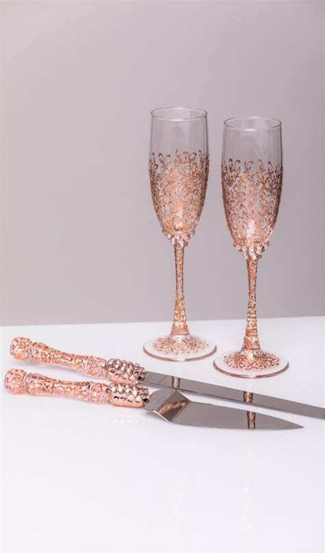 wedding cake knife set gold gold wedding glasses and cake server set cake knife