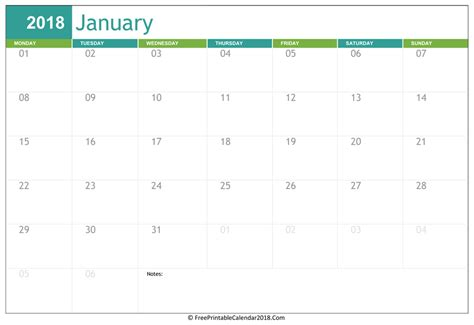 printable january 2018 calendar pdf january 2018 calendar templates
