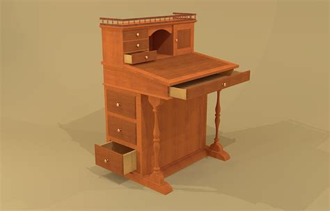 Captains Desk by Creekside Woodshop Sketchup Drawings