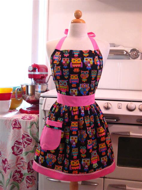 pattern for owl apron owl apron retro style psychedelic owls on black full apron