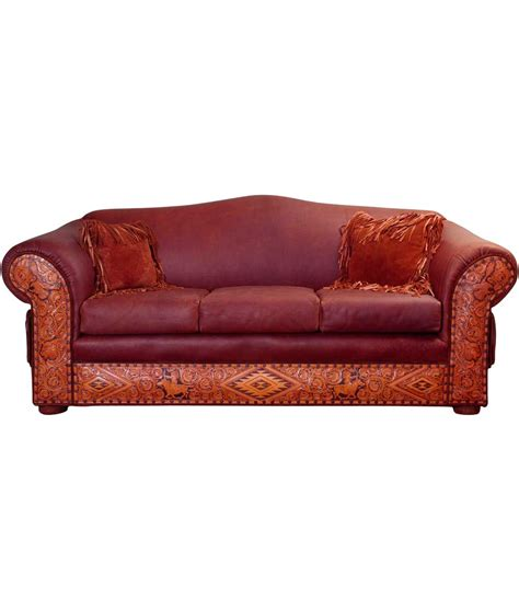 western tooled leather sofa tooled leather sofa western rustic furniture