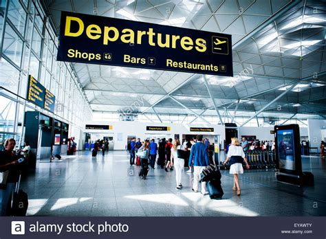 uk airport arrivals and departures information websites departure area at london stansted airport uk stock photo