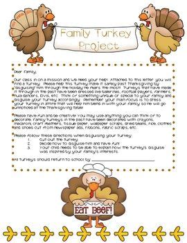 Turkey A Project And The Family On Pinterest Family Turkey Project Template