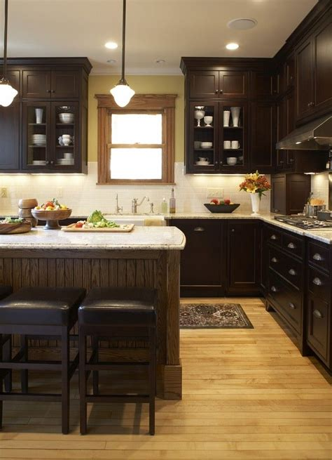 Kitchen Dark Cabinets Warm Wood Floor Light Counters Black Stained Kitchen Cabinets
