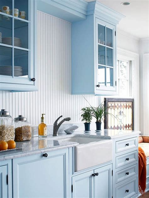 Kitchen Design With Corner Sink by Blue Kitchen Cabinets