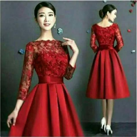 Dress Brukat Combi Scuba midi dress merah kombinasi brukat shopee indonesia