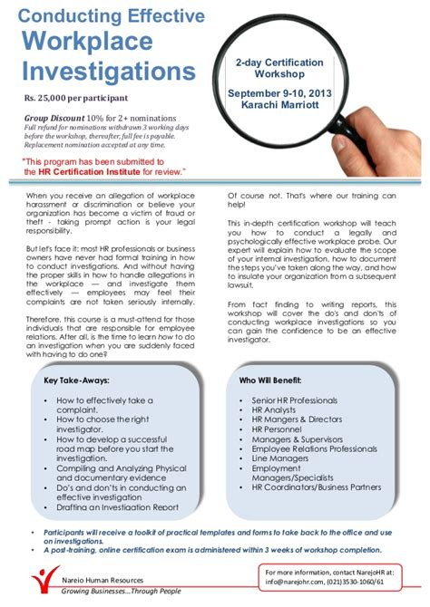 workplace investigation template conducting effective workplace investigation workshop