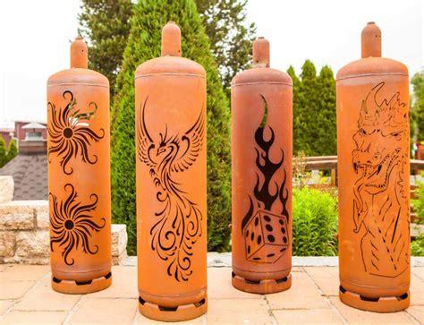 gasflasche feuerstelle sehr stylische feuertonne gasflasche mit quot sonnen quot design