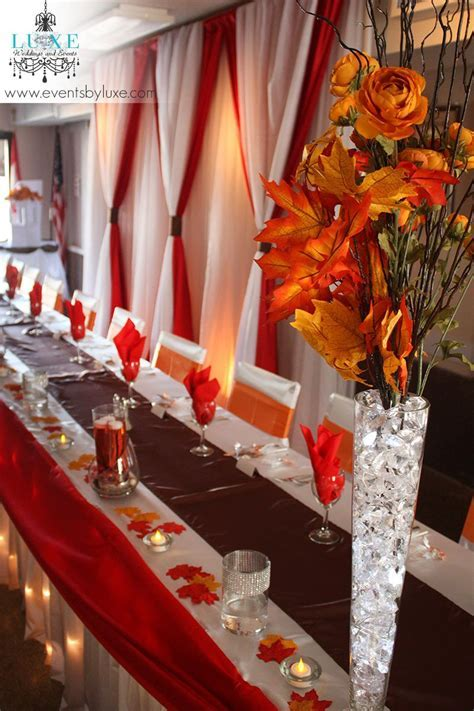 Orange, White, Brown and Red Wedding Decor in London