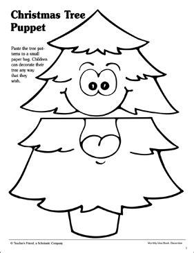 christmas tree paper bag puppet pattern printable arts