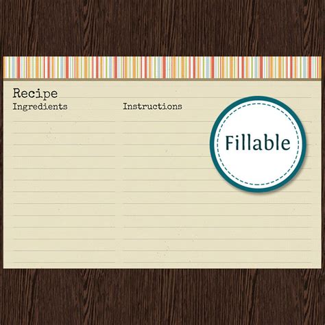 fillable recipe card template recipe card v1 fillable recipe card 6x4 inches instant
