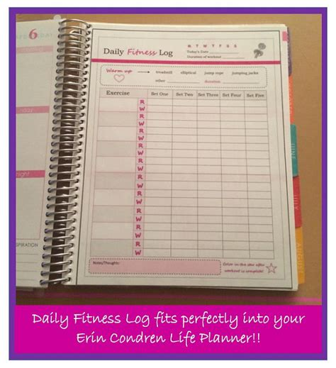 printable planner dashboard printable exercise log fitness planner dashboard to use with