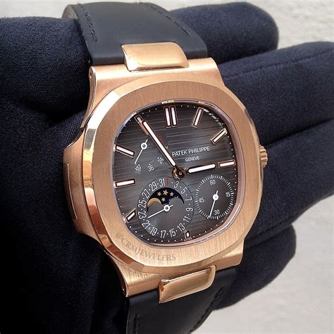 Patek Philippe 8255 Rosegold Brown Leather patek philippe nautilus gold leather crm jewelers