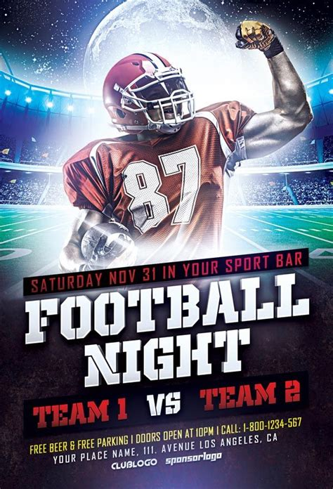 templates for sports flyers free football sports flyer template design pinterest