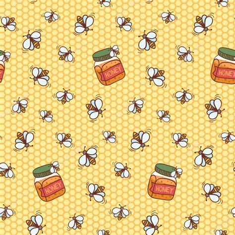 cute honeycomb pattern seamless pattern with cute bees and honeycomb stock