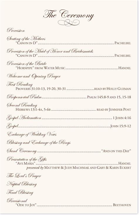 Wedding Ceremony Exles by Wedding Church Ceremony Program Wedding Ideas 2018