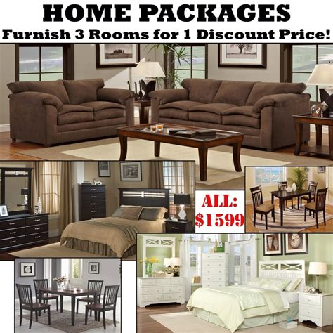 home packages with 3 rooms of furniture for 1 discount