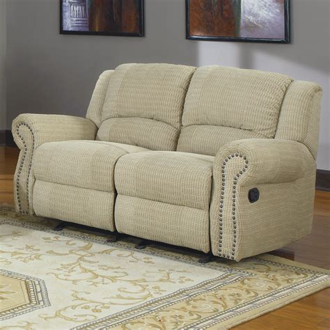 Fabric Reclining Sofas And Loveseats Khaky Canvas Fabric Upholstered Loveseat With Reclining And Panel Armrest Also Metal Nail