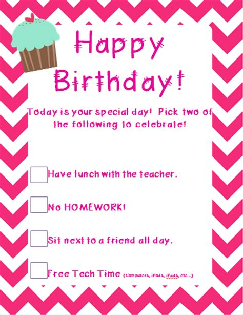 Student Birthday Card Template by The 2 Teaching Divas Happy Birthday