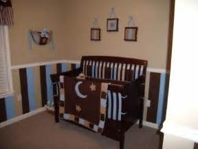 To post striped nursery decorating ideas for the walls of a baby boys