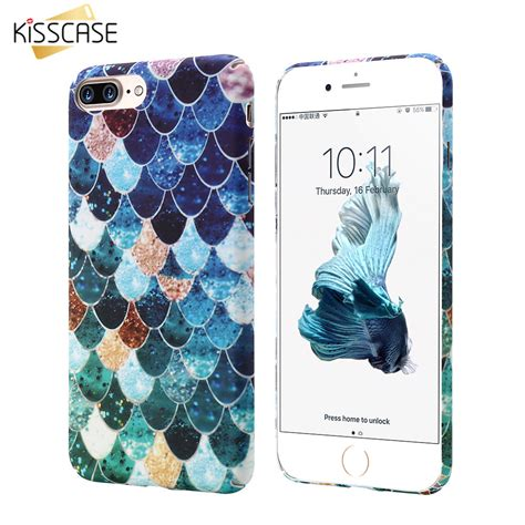 Mermaid Fish Iphone 7 kisscase phone for iphone 6 6s 7 plus 5 5s mermaid 3d fish scale cover for samsung s8