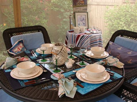 Dining Room Table Setting Dishes Screened Canopy Room For Summer Dining And Entertaining