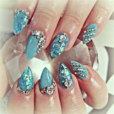 swarovski for nails shiny blue acrylic nails and swarovski crystals nails