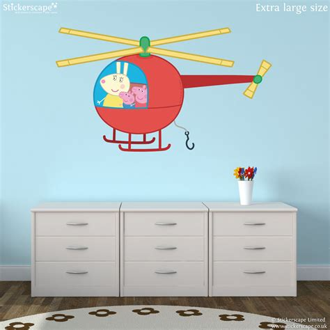 helicopter wall stickers peppa pig helicopter wall sticker stickerscape uk