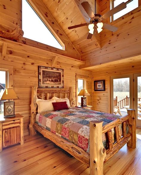 Log Home Bedroom Decorating Ideas Jocassee V Master Bedroom By Blue Ridge Log Cabins Logcabins Loghomes Cabins Bedroom