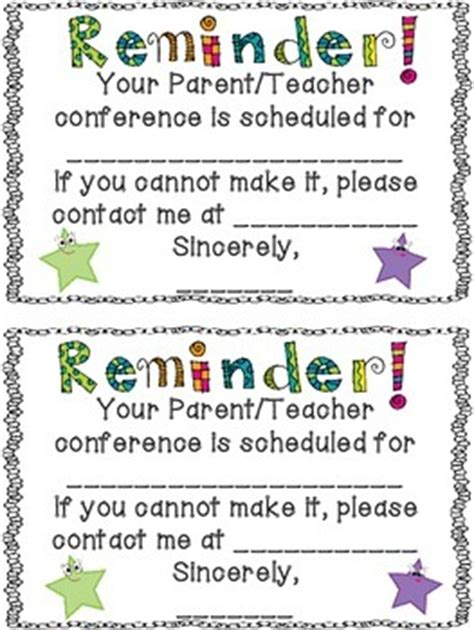 reminder templates for teachers free conference reminder note by terra kubert teachers