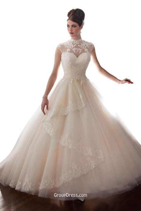elegant ball gown high neck cap sleeves tulle wedding