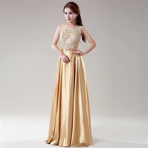 Bridesmaid Dress Material Names - gold color lace top satin a line bridesmaid dresses