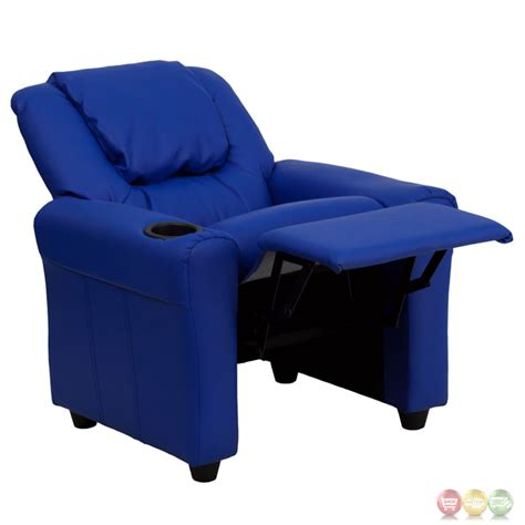 kids recliner with cup holder contemporary blue vinyl kids recliner with cup holder and