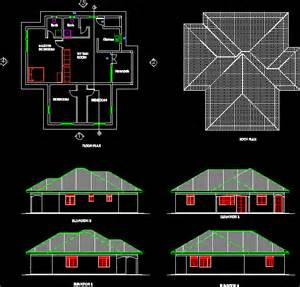a three bedroomed simple house in autocad drawing bibliocad