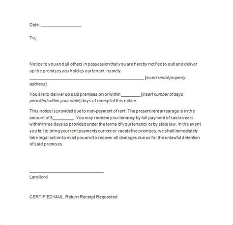 6 house vacating notice notice letter
