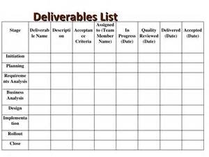 Project Deliverables Template by Introduce Project Management