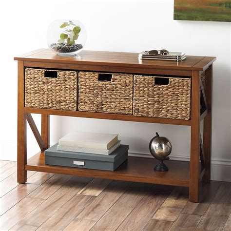 sofa table with wicker baskets console tables with storage baskets storage designs