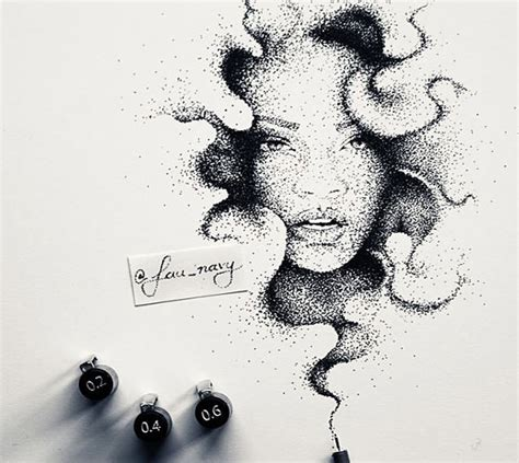 Kitchener Home Furniture rihanna dotwork pen drawing by fau navy no 1702