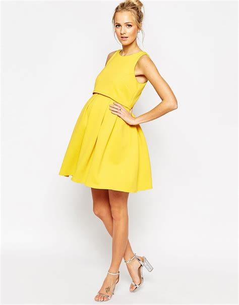 Dress Yellow Scuba asos yellow scuba dress dress edin