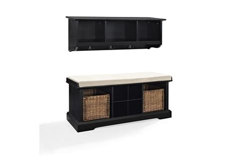 entryway bench and shelf set brennan 2 piece entryway bench and shelf set in black by