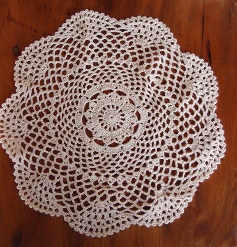 Handmade Crochet Doilies - 12 quot shaped handmade cotton crochet doilies beige