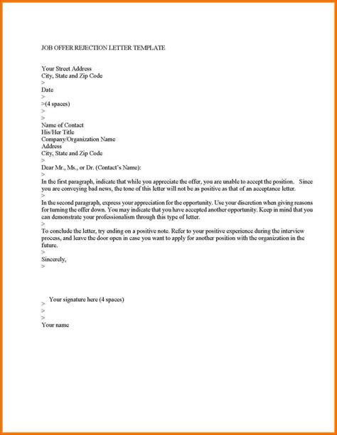 Rejection Letter Email Template decline offer letter general resumes