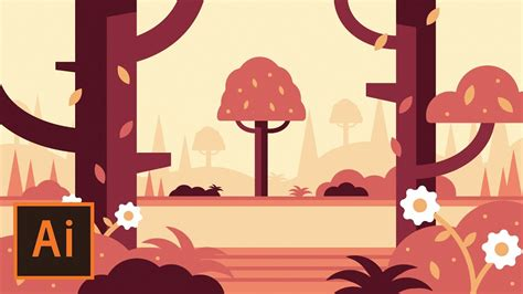 Illustrator Jungle Tutorial   illustrator tutorial forest landscape flat design