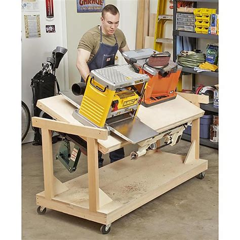 all in one woodworking flip top tool bench woodworking plan from wood magazine