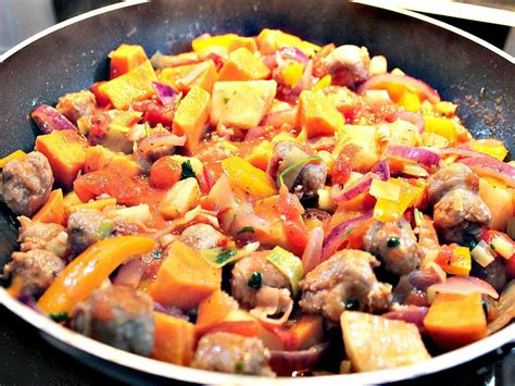 dinner potatoes sausage and sweet potato dinner lovefoodies
