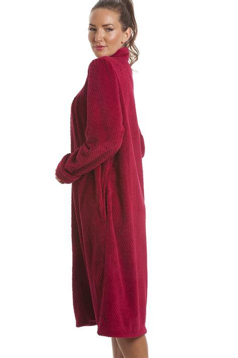 house coat soft fleece berry zip front house coat